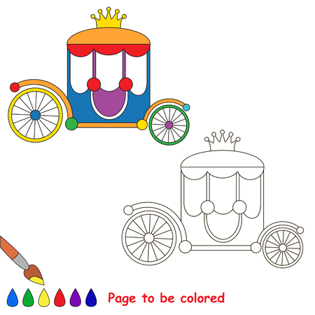 Princess Chariot to be colored, the coloring book for preschool kids with easy educational gaming level.