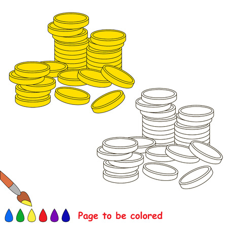 easy money: A lot of cash gold money coins to be colored, the coloring book for preschool kids with easy educational gaming level.