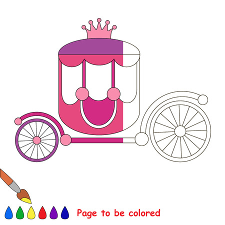 chariot: Pink Princess Chariot, the coloring book to educate preschool kids with easy gaming level, the kid educational game to color the colorless half by sample.