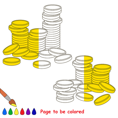 A lot of gold cash coins, the coloring book to educate preschool kids with easy gaming level, the kid educational game to color the colorless half by sample.
