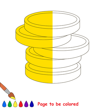 A lot of gold cash money, the coloring book to educate preschool kids with easy gaming level, the kid educational game to color the colorless half by sample. Illustration