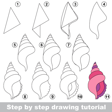 Kid game to develop drawing skill with easy gaming level for preschool kids, drawing educational tutorial for Beautiful Shell Ilustração