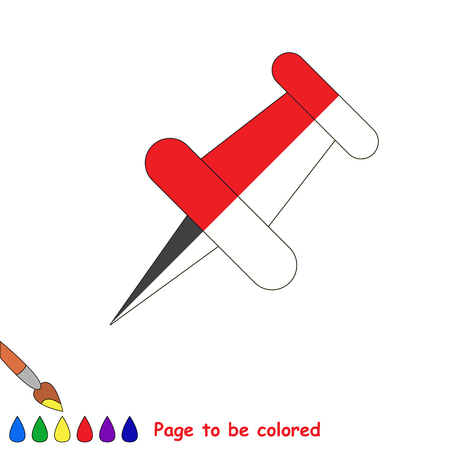 Pushpin, the coloring book to educate preschool kids with easy gaming level, the kid educational game to color the colorless half by sample.