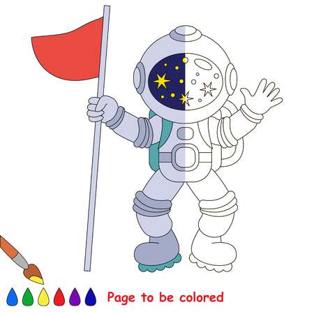 Spaceman, the coloring book to educate preschool kids with easy gaming level, the kid educational game to color the colorless half by sample. Illustration