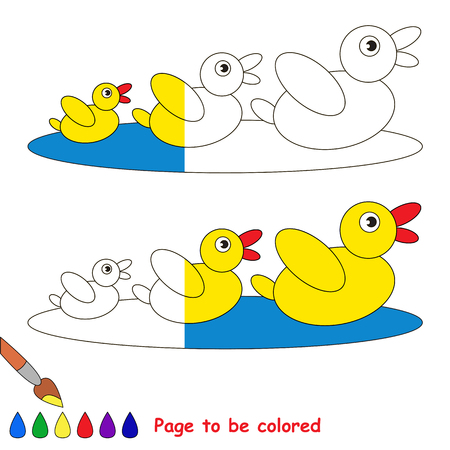 colorless: Three Wild Ducks, the coloring book to educate preschool kids with easy gaming level, the kid educational game to color the colorless half by sample.