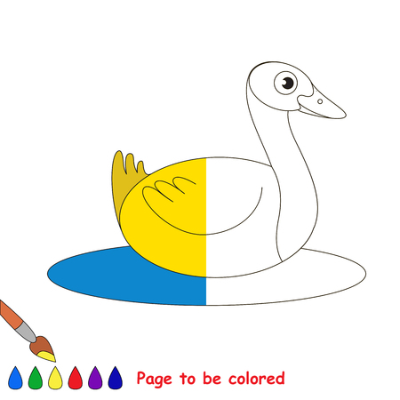colorless: Yellow Wild Duck, the coloring book to educate preschool kids with easy gaming level, the kid educational game to color the colorless half by sample.