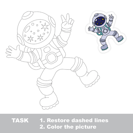 zero gravity: Spaceman Flying. Dot to dot educational game for kids.