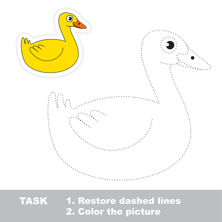joining the dots: Yellow Wild Duck. Dot to dot educational game for kids.