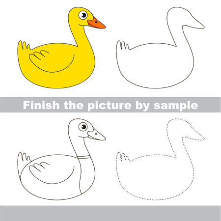 Drawing worksheet for preschool kids with easy gaming level of difficulty, simple educational game for kids to finish the picture by sample and draw the Yellow Wild Duck Illustration