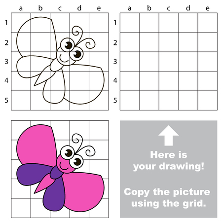 Copy the picture using grid lines, the simple educational game for preschool children education with easy gaming level, the kid drawing game with Beautiful Batterfly Illustration