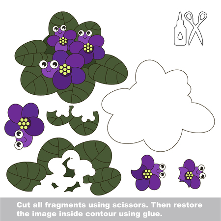 Use scissors and glue and restore the picture inside the contour. Easy educational paper game for kids. Simple kid application with Funny Flower Violets