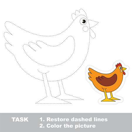 pondering: Brown Hen. Dot to dot educational game for kids. Stock Photo