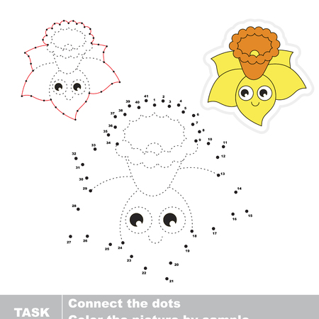 Yellow Funny Narcissus. Dot to dot educational game for kids.