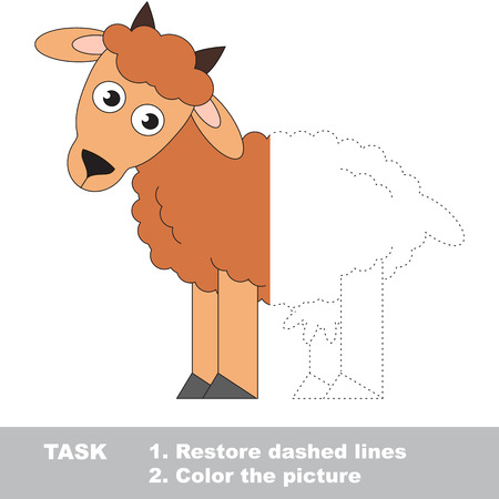 joining the dots: Funny Goat. Dot to dot educational game for kids. Half tracing page.