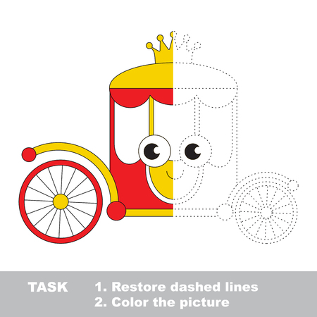 Princess Chariot. Dot to dot educational game for kids. Half tracing page. Illustration
