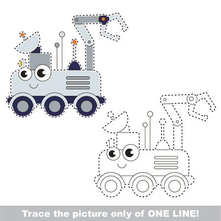 lunar rover: Cute Lunar Rover. Dot to dot educational game for kids.