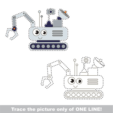 Cute Mars Rover. Dot to dot educational game for kids.