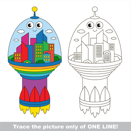 joining the dots: Cute Flying Rocket City. Dot to dot educational game for kids.