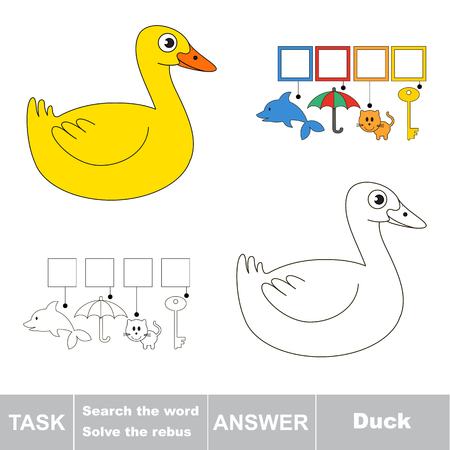 Educational puzzle game for kids. Find the hidden word Duck