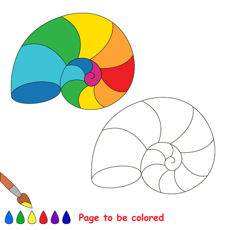 Rainbow Seashell to be colored, the coloring book for preschool kids with easy educational gaming level. Illustration