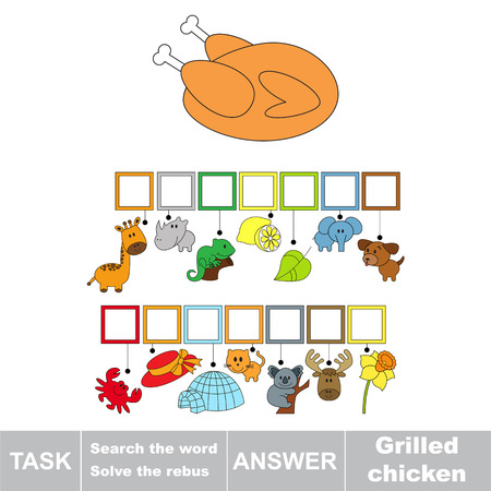 Educational puzzle game for kids. Find the hidden word Grilled Chicken Meal