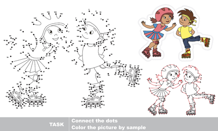 Sport Children - Rollet Boy and Roller Girl. Dot to dot educational game for kids.