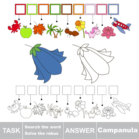 campanula: Educational puzzle game for kids. Find the hidden word Campanula
