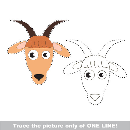 joining the dots: Goat Face. Dot to dot educational game for kids.