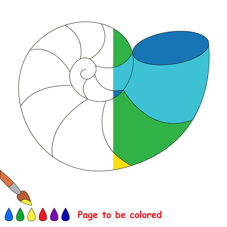 Rainbow Seashell, the coloring book to educate preschool kids with easy gaming level, the kid educational game to color the colorless half by sample. Illustration