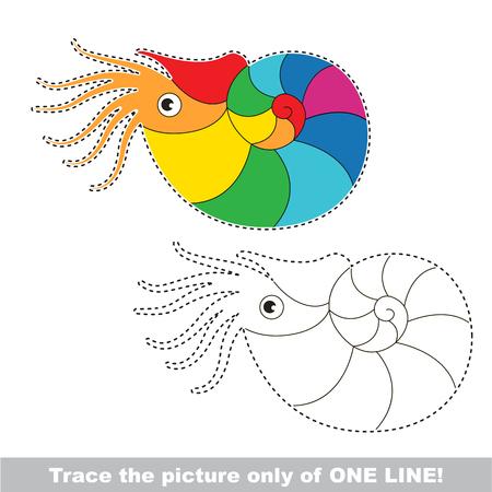 Beautiful Rainbow Nautilus. Dot to dot educational game for kids.