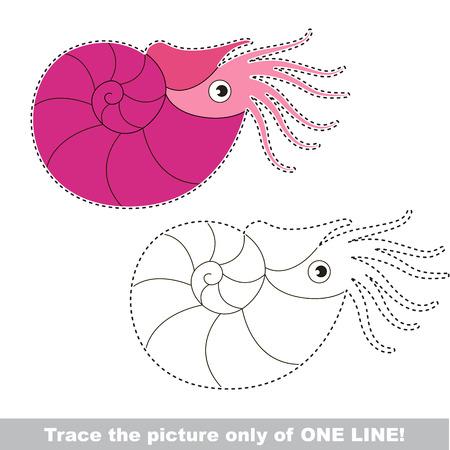 Beautiful Pink Nautilus. Dot to dot educational game for kids. Illustration
