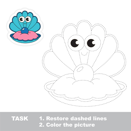 Blue Cute Oyster. Dot to dot educational game for kids. Ilustração