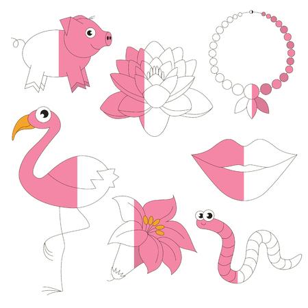 Pink Color Objects, Die Große Sammlung Färbung Buch Zu Erziehen ...