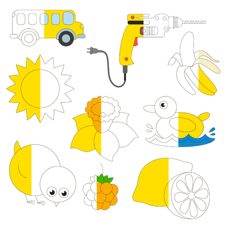 Yellow Color Objects, the big collection coloring book to educate preschool kids with easy gaming level, the kid educational game to color the colorless half by sample.