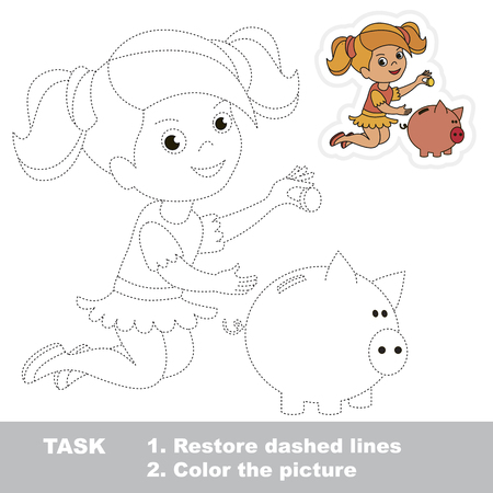 Reach Girl Save Money in Piggy Bank. Dot to dot educational game for kids.