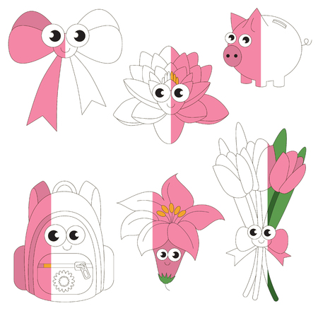 Funny Pink Color Objects, the big kid game to be colored by example half.