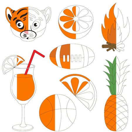 americal: Orange Color Images, the big kid game to be colored by example half. Illustration