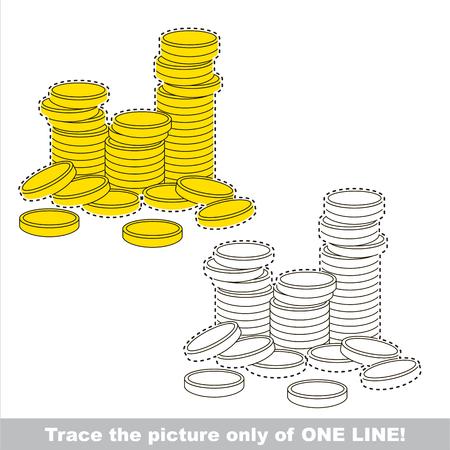 Eine Menge Geld Gold Geld Münzen Gefärbt Werden, Die Malbuch Für ...