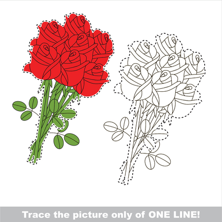 joining the dots: Five Red Roses to be traced only of one line, the tracing educational game to preschool kids with easy game level, the colorful and colorless version. Illustration