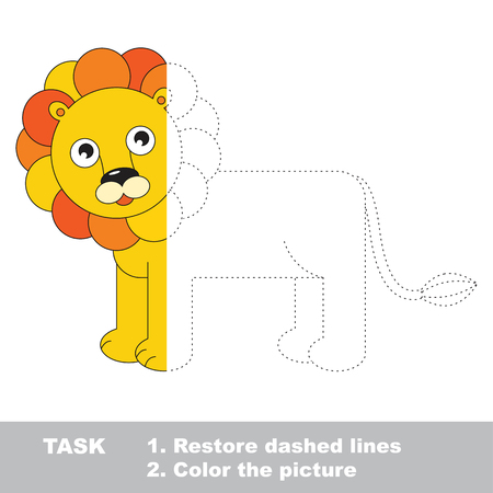 Beautiful Leo. Dot to dot educational game for kids. Half tracing page.