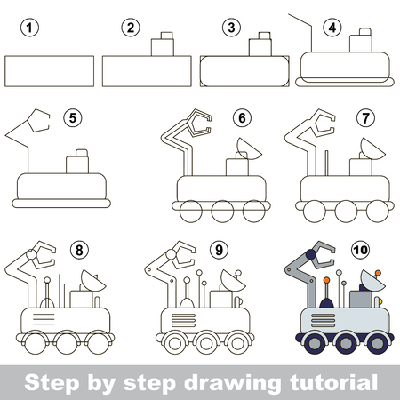 lunar rover: Drawing tutorial for preschool children. Illustration
