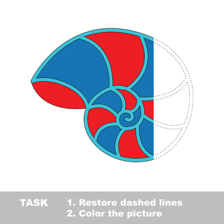 Red and Blue Nautilus Shell. Dot to dot educational game for kids. Half tracing page.