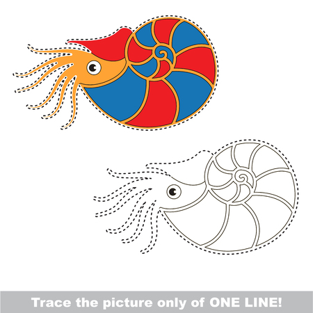 Beautiful Nautilus to be traced only of one line, the tracing educational game to preschool kids with easy game level, the colorful and colorless version.