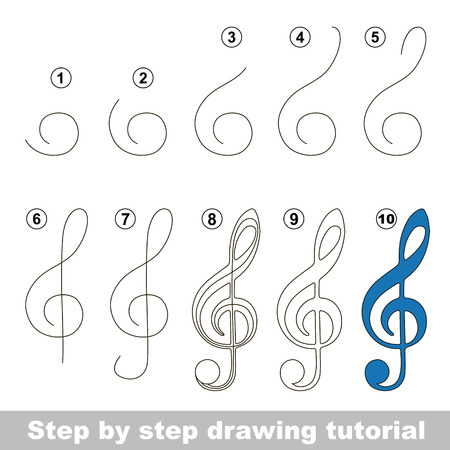 Kid game to develop drawing skill with easy gaming level for preschool kids, drawing educational tutorial for Blue Treble Clef Ilustração