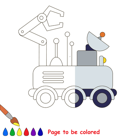 lunar rover: Lunar Rover, the coloring book to educate preschool kids with easy gaming level, the kid educational game to color the colorless half by sample.