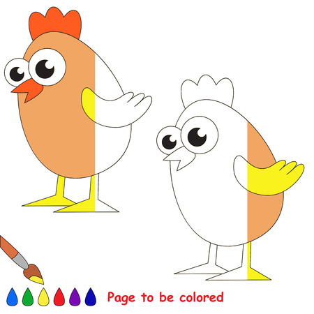 colorless: Egg Chicken, the coloring book to educate preschool kids with easy gaming level, the kid educational game to color the colorless half by sample.