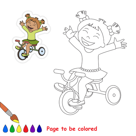 Three Wheeled Girl Bicyclist to be colored, the coloring book for preschool kids with easy educational gaming level. Illustration
