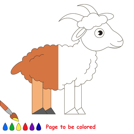 Goat, the coloring book to educate preschool kids with easy gaming level, the kid educational game to color the colorless half by sample.