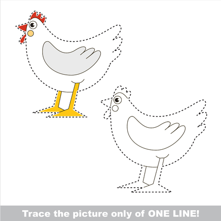 Hen. Dot to dot educational game for kids. trace only of one line. Illustration