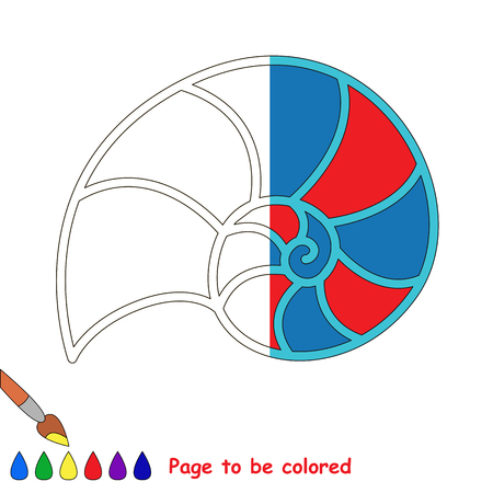 Nautilus Shell, the coloring book to educate preschool kids with easy gaming level, the kid educational game to color the colorless half by sample. Banco de Imagens - 78801028